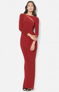 Lauren Ralph Lauren Asymmetrical Cutout Jersey Column Gown