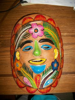 Red Clay Pottery Hand Made & Painted Face Mask Hong Kong Tribal Floral