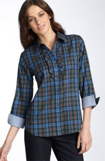 Foxcroft Plaid Ruffle Front Shirt