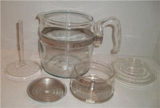 Vintage Pyrex Flameware Glass Coffee Pot Perculator 4 6 Cups #7756