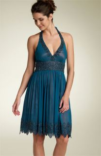 Adrianna Papell Evening Beaded Chiffon Halter Dress