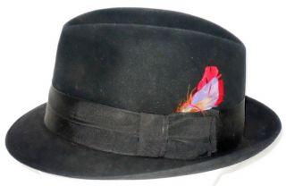 Vintage College Park Mens Black Felt Fedora Hat Sz Long Oval 6 7 8