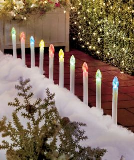 Set of 10 Holiday Colorful Stake Color Changing LED Path Lights Candle