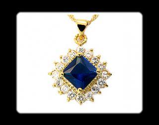 Fashion Jewelry Gift Blue Sapphire Yellow Gold GP Pendant Necklace
