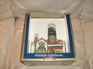 Holiday Time Village Collectible Porcelain Lighthouse NIB