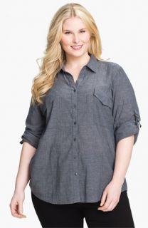 Eileen Fisher Roll Sleeve Chambray Shirt (Plus)