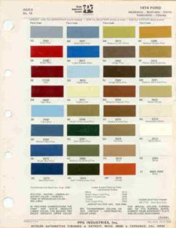 1974 Ford Torino Mustang Pinto Paint Color Chart PPG 75
