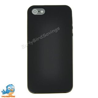 Black Solid Color Soft Silicone Case Cover Skin for iPhone 5