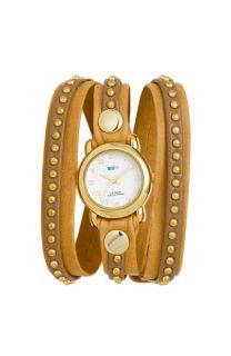 La Mer Collections Bali Gold Studded Leather Wrap Watch