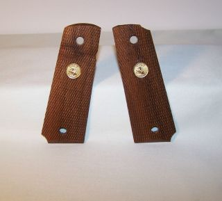 Vintage Factory Colt 1911 45 Auto Wood Grips With Gold Medallion