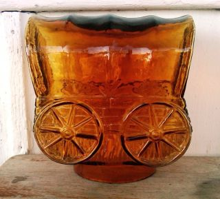 Conestoga Covered Wagon Amber Glass Lamp Shade Table Decoration