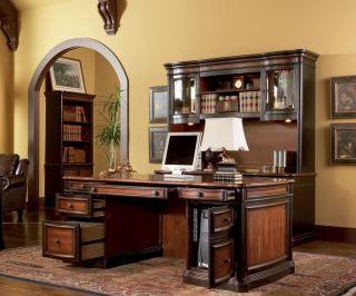 PC Executive Desk Wood Table File Bookcase Hutch New