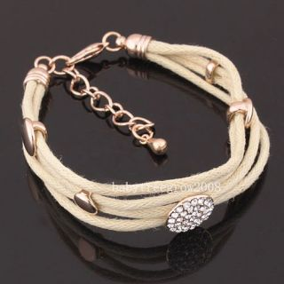 18K Rose Gold GP Swarovski Crystal Fabric Bracelet B196