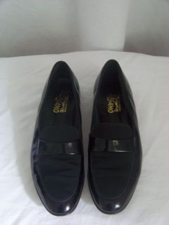 Salvatore Ferragamo Mens Black Patent Leather Contrast Panel Loafer