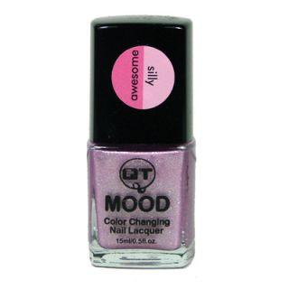 QT Mood Color Change Nail Polish Pink Glitter to Silver White Glitter