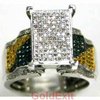 Multi Color Diamond Fancy 14k Gold Engagement Ring Ladies Jewelry