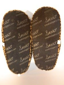 SNOOKI SLIPPERS LEOPARD/ANIMAL PRINT SIZE L (9 10) HAPPY FEET