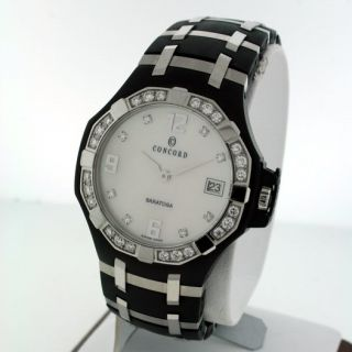 Concord Saratoga Mother of Pearl Diamond 37mm PVD Stainless Steel