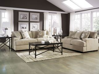 CONTEMPORARY FABRIC SOFA COUCH & LOVESEAT SET LIVING ROOM FURNITURE