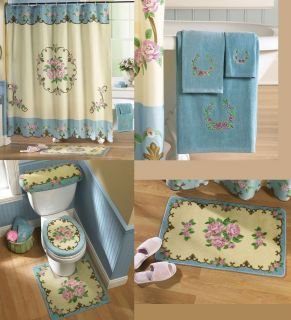 Pink Rose Design Toilet Contour Rug Bath Mat Set Shower Curtain