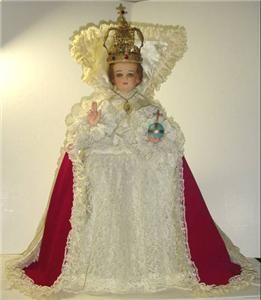 Convent Vintage Chalkware Glass Eyes Dressed Infant of Prague 26 Tall