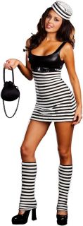 Sexy Womens Convict Cutie Costume Halloween Outfit New