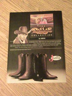 Jim Davis Advertisement Justin Boots Ad Dallas Collection Texas Man