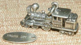 Silver Charm Large Train Engine Coal Virginia City Tag 3B 4 5g