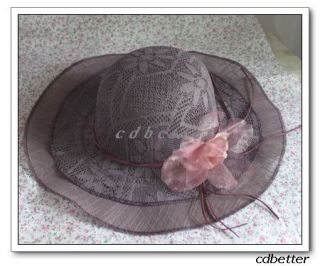 Women Elegant Lace Cover Style Linen Wide Brim Church Holiday Garden