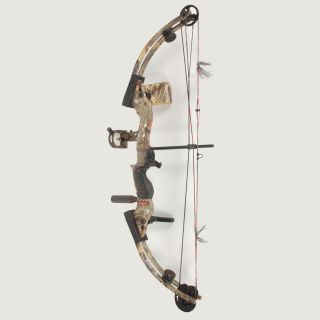 here is a buckmasters btr 32 camo compound bow in used