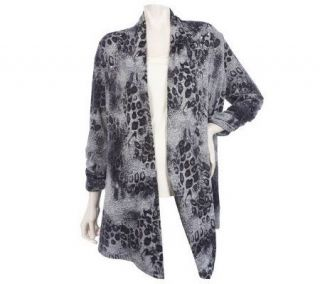 Susan Graver Sweater Knit Animal Print Cardigan with 3/4 Sleeves