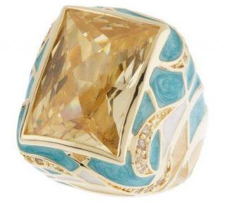 Lauren G Adams Bold Splash Enamel & Crystal Cocktail Ring —