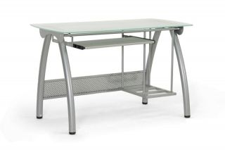 Modern Computer Desk CPU Stand Frosted Glass Top Keyboard Tray