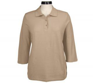 Denim & Co. Cotton Pique 3/4 Sleeve Polo Shirt —