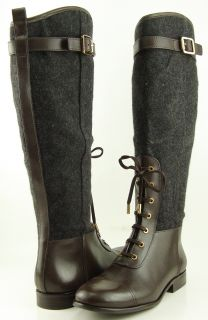 Tory Burch Brent Charcoal Coconut Womens Designer Lace Up Knee High