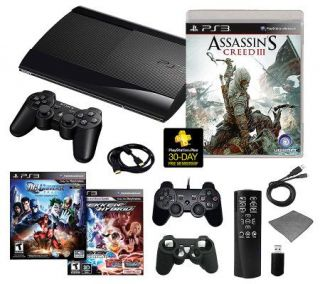 PS3 Slim 500GB Assassins Creed III Bundle with3 Games & More   E265718