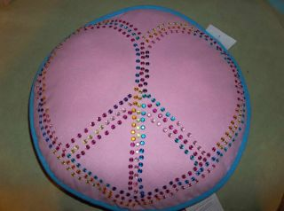 Peace Out Pink Blue Pillow Soft Cody Direct 16 x 16 x 6 Peace Sign