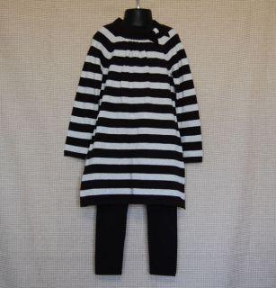 Copper Key Black Silver Striped Tunic Leggings Set Size 5 Kid Girl