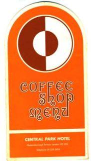 Central Park Hotel Coffee Shop Menu London 1970s