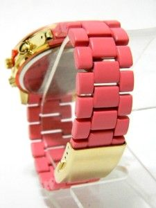 Gold Coral Pink Band Geneva Womens Fashion Ceramic LK Style Bracelet