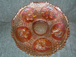 Fenton Carnival Glass Horse Medallion Plate in Marigold