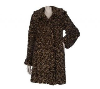 Dennis Basso Crushed Faux Fur Swing Coat —