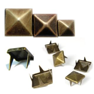 100pcs Metal Round Cone Square Pyramid Punk Spike Studs Spots DIY