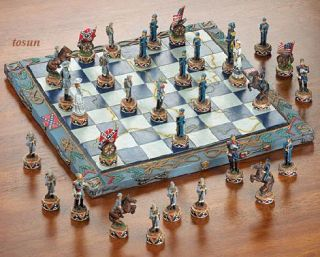 Civil War Chess Set Classic Union Confederate Board Game New