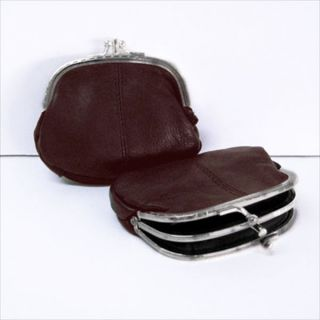 Brown Real Leather Double Frame Coin Purse C221