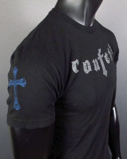 Mens Hard 8 T Shirt with Studs Confess with Crosses