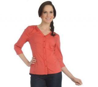 Liz Claiborne New York Stretch Cotton Button Front Shirt   A211832
