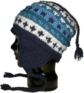 Authentic Soul Blue Cap Wool Knit Ear Flap Hat Snowboard Beanie Mens