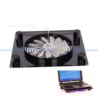 New USB 1 Fan Blue LED Laptop Cooling Pad Stand Translucent Black