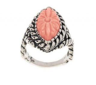 Carolyn Pollack Sterling Santa Rosa Carved Coral Ring —